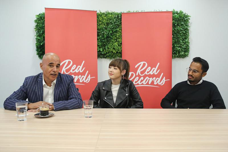 (From left) Red Records CEO Hassan Choudhury, Red Records Artist Jannine Weigel and Red Records A&R manager John O during a press conference at the Universal Music in Petaling Jaya September 11, 2020. — Picture by Yusof Mat Isa