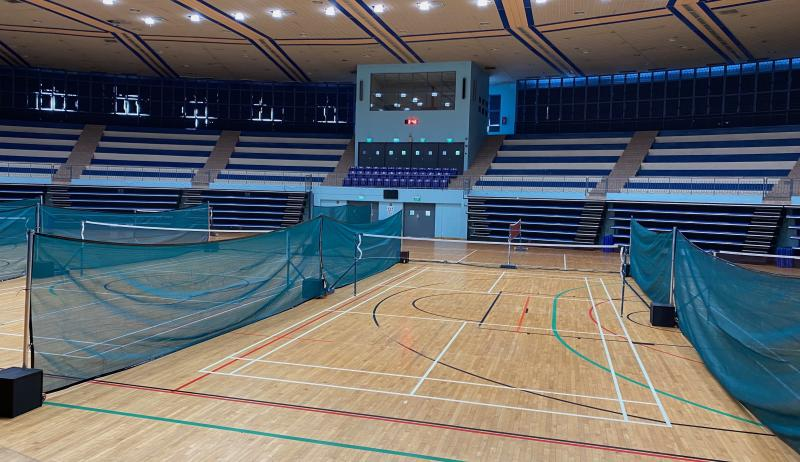 Jurong East Indoor Sports Hall, with its badminton courts separated by meshes for safe distancing. (PHOTO: Chia Han Keong/Yahoo News Singapore)