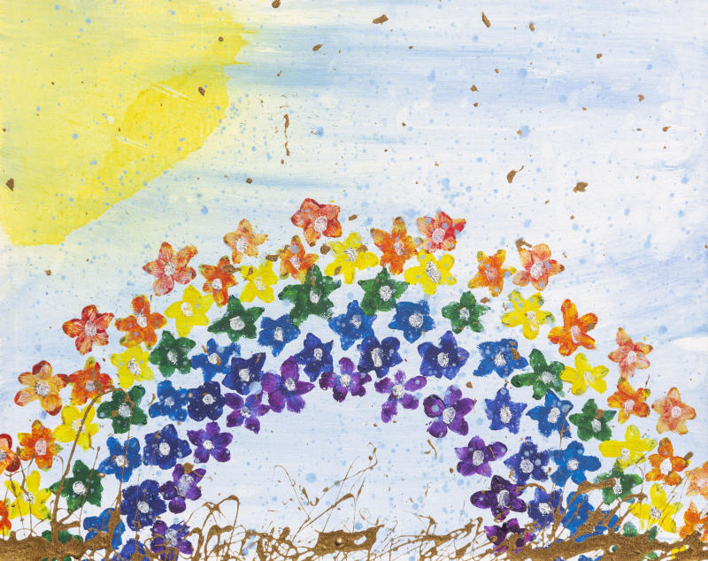 Daisy made a rainbow picture for the NHS earlier this year. (SWNS)