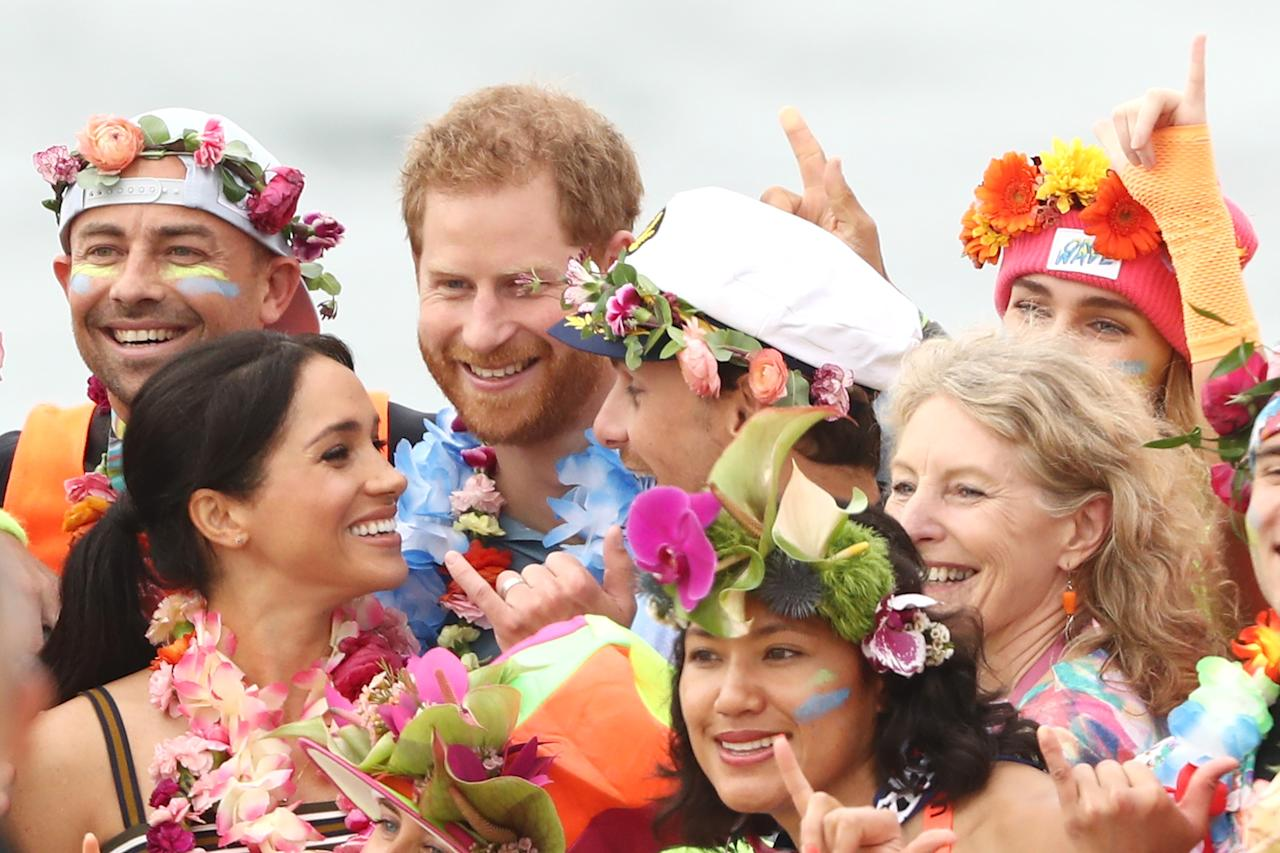 <p>Mum-to-be Meghan had her hair tied back in a sleek ponytail and was absolutely glowing. Photo: Getty </p>