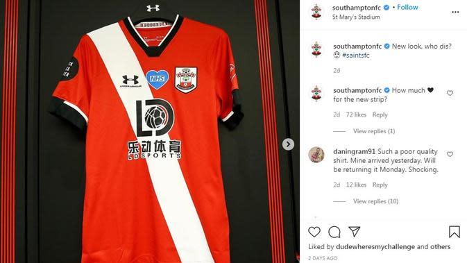 Seragam Southampton. (Instagram)