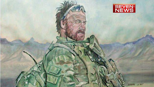 Portrait of fallen soldierTodd Langley. Painted by Jason Swain.