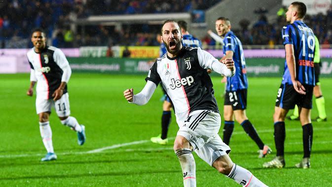 Selebrasi pemain Juventus Gonzalo Higuain saat melawan Atalanta (AFP)