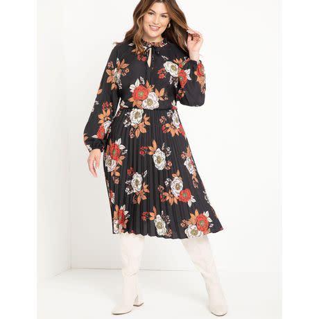 ELOQUII Elements Women's Plus Size Pleated Dress with Tie Neck (Photo via Walmart)