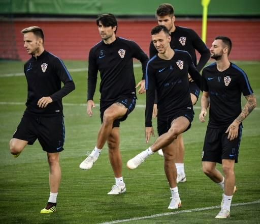 Croatia players, including Ivan Rakitic (L), take part in a training session in Moscow ahead of the World Cup semi-final