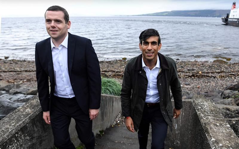 Chancellor Rishi Sunak meets with Douglas Ross, the new Leader of the Scottish Conservative Party - AFP