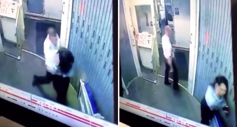 The two clash on CCTV footage from the jet bridge. Source: FlyerTalk