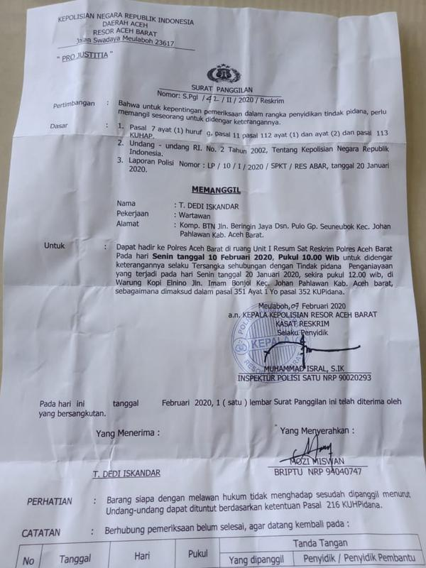 Surat panggilan untuk wartawan LKBN Antara Biro Aceh, untuk Kabupaten Aceh Barat (Dok. Pribadi)