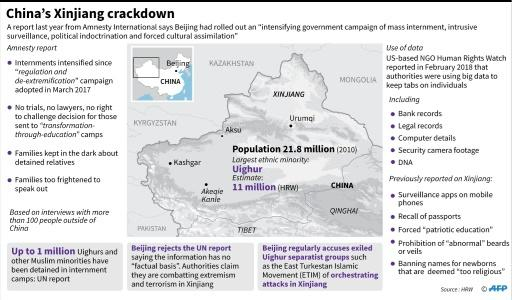"Factfile on a report published last year by Amnesty International on the ""massive crackdown"" of one million minority Muslims in China's western Xinjiang region"