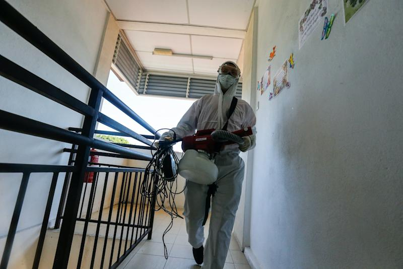 Jee has disinfected eight places including the Batu Lanchang Market, Perak Road Market, Jelutong Police Station, kindergartens and schools. — Picture by Sayuti Zainudin