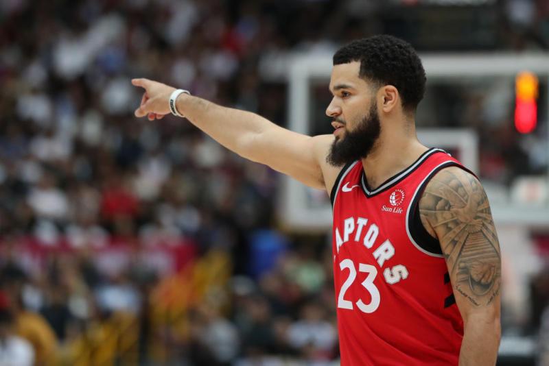 Fred VanVleet #23 of Toronto Raptors gestures during the preseason game between Toronto Raptors and Houston Rockets at Saitama Super Arena. (Photo by Takashi Aoyama/Getty Images)
