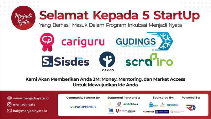Lima startup terpilih untuk mengikuti program inkubasi Menjadi Nyata yang didukung oleh perusahaan investasi ModalSaham (Foto: ModalSaham)