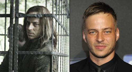 Tom Wlaschiha as Jaqen H'ghar in 'Game of Thrones' Season 2 (left), and at a Sky Atlantic launch event in Germany in May 2012 (right) -- HBO/Helen Sloan/Getty Images