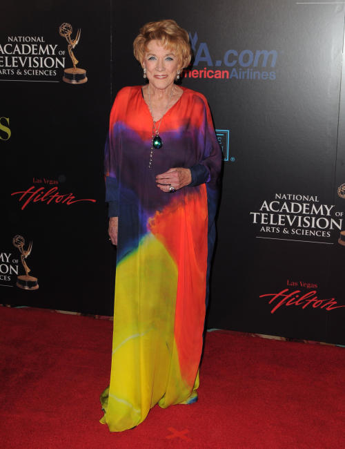 "CORRECTION OF DATE: FILE - In this June 27, 2010 file photo, Jeanne Cooper arrives at the 37th Annual Daytime Emmy Awards at Las Vegas Hilton in Las Vegas, Nevada. CBS says the soap opera star has died. She was 84. Cooper played grande dame Katherine Chancellor on CBS' ""The Young and the Restless"" for nearly four decades. (Photo by Jordan Strauss/Invision/AP Images, File)"