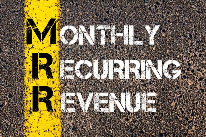 行人路上印有每月經常性收益的字樣。