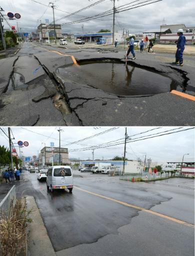 Workers took just a day to repair a road that collapsed in an earthquake that rocked Osaka