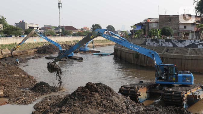 Eksavator amphibi digunakan untuk melakukan proses pengerukan endapan tanah di aliran Sungai Ciliwung, Jakarta, Selasa (28/7/2020). Pengerukan endapan ini untuk memperlancar aliran air Sungai Ciliwung serta upaya pencegahan banjir saat musim hujan. (Liputan6.com/Helmi Fithriansyah)