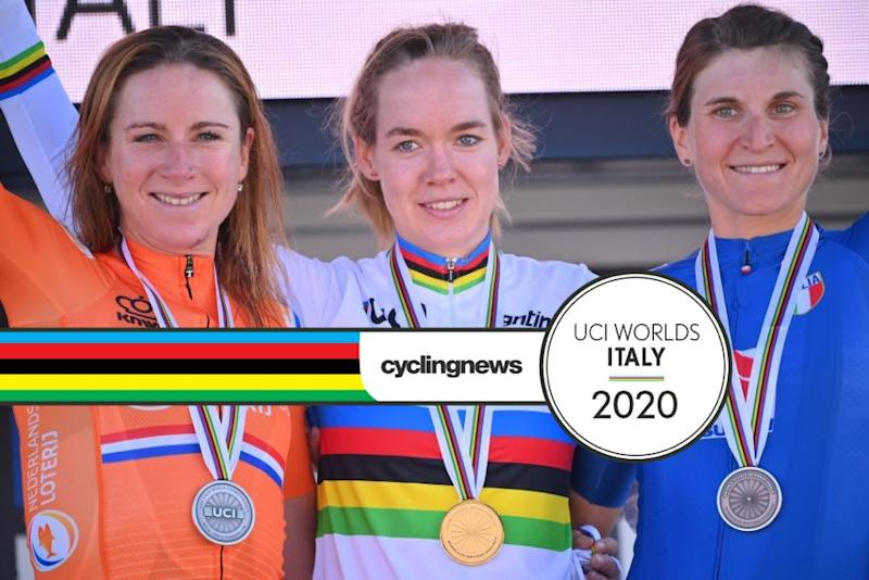 The elite women's road race podium in Imola, with Anna van der Breggen winning the rainbow jersey ahead of Dutch teammate Annemiek van Vleuten (left) and Italy's Elisa Longo Borghini