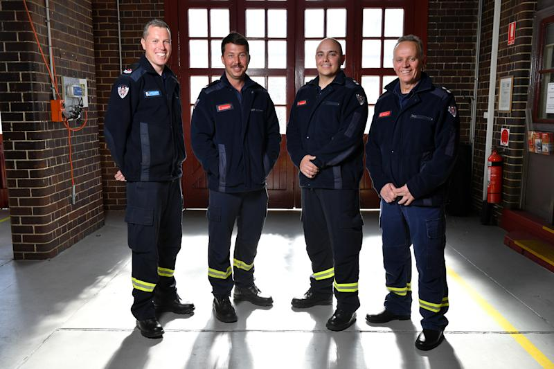 (L-R) Senior Firefighter Bennett Gardiner, Senior Firefighter Mitchell Bennetts, Leading Firefighter Gonzalo Herrara and Station Officer Mike Stuart pose for a photo at Drummoyne Fire Station in Sydney, Monday, August 19, 2019. Four firefighters from Fire and Rescue NSW (FRNSW) have been acknowledged for their actions at the stabbing incident in the Sydney CBD last week. (AAP Image/Joel Carrett) NO ARCHIVING