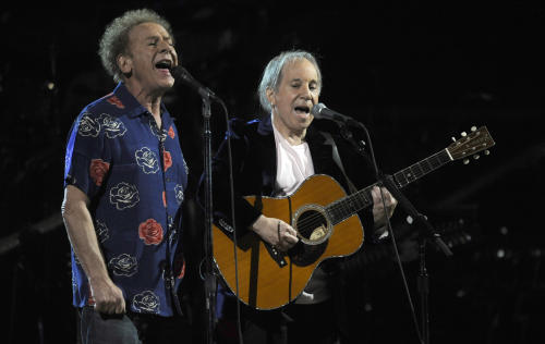 "FILE - In this Oct. 29, 2009 file photo, Paul Simon, right, and Art Garfunkel perform at the 25th Anniversary Rock & Roll Hall of Fame concert at Madison Square Garden in New York. On Thursday, March 21, 2013 the library is announcing its newest additions to the National Recording Registry. The 1966 album ""Sounds of Silence"" by Paul Simon and Art Garfunkel is among them. (AP Photo/Henny Ray Abrams, File)"