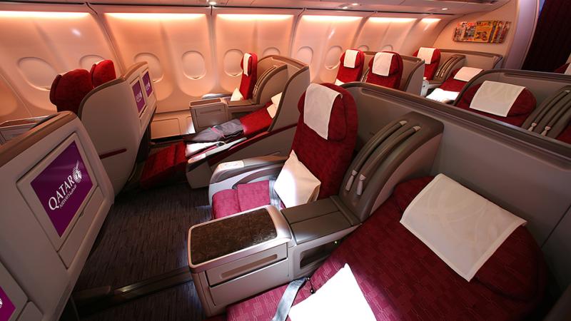 Inside business class offered by Qatar Airways. Photo: Supplied/Qatar Airways
