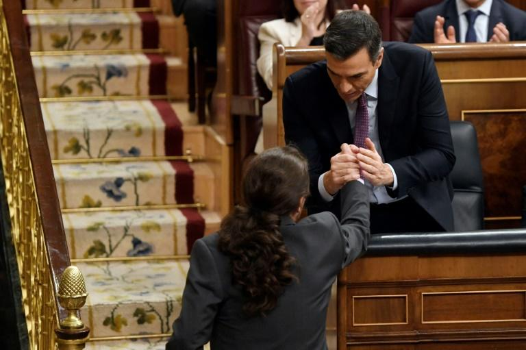 Socialist Prime Minister Pedro Sanchez and pony-tailed Podemos leader Pablo Iglesias are partners in Spain's first coalition government since the 1930s