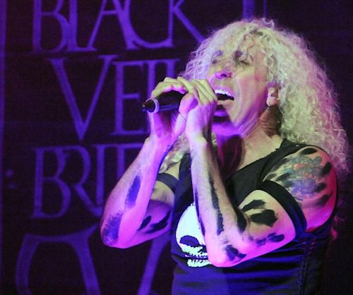 "FILE - This April 11, 2012 file photo shows Twisted Sister frontman Dee Snider performing live at the 4th annual Revolver Golden Gods Award Show at Club Nokia in Los Angeles. Snider has asked Republican vice presidential running mate Paul Ryan's camp not to play his hit song, ""We're Not Gonna Take It."" Ryan spokesman Brandon Buck wrote a pithy email in response: ""We're Not Gonna Play It anymore."" Snider says in a statement that he does not support Ryan and denounced use of the song, an anthemic 1984 hit for the glam metal band. (AP Photo/Katy Winn, file)"
