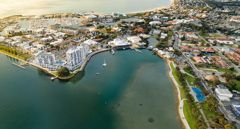 An aerial view of Mandurah foreshore where a 3-year-old girl went missing from before she was found safe and well.