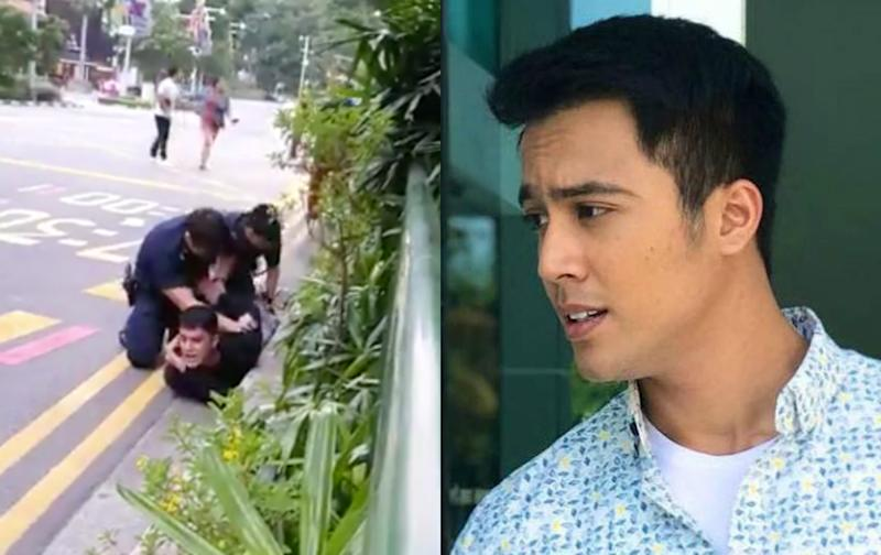 Singaporean actor and singer Aliff Aziz had earlier pleaded guilty to theft and disorderly behaviour. He will be sentenced on 15 September. (PHOTOS: Twitter video screenshot, Aliff Aziz/Instagram)