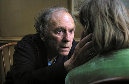 """FILE - This publicity film image released by Sony Pictures Classics shows Jean-Louis Trintignant in a scene from the Austrian film, """"Amour."""" The film directed by Michael Haneke is nominated for an Academy Award in the Foreign Language Film category. The 85th Academy Awards air live on ABC on Sunday, Feb. 24, 2013. (AP Photo/Sony Pictures Classics)"""