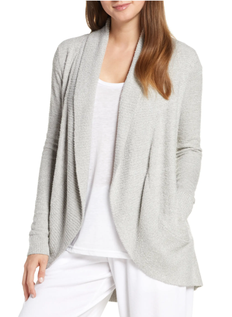 Barefoot Dreams Women's CozyChic Lite Circle Cardigan in He Pewter/Pearl