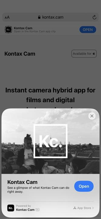 Open app clip screen