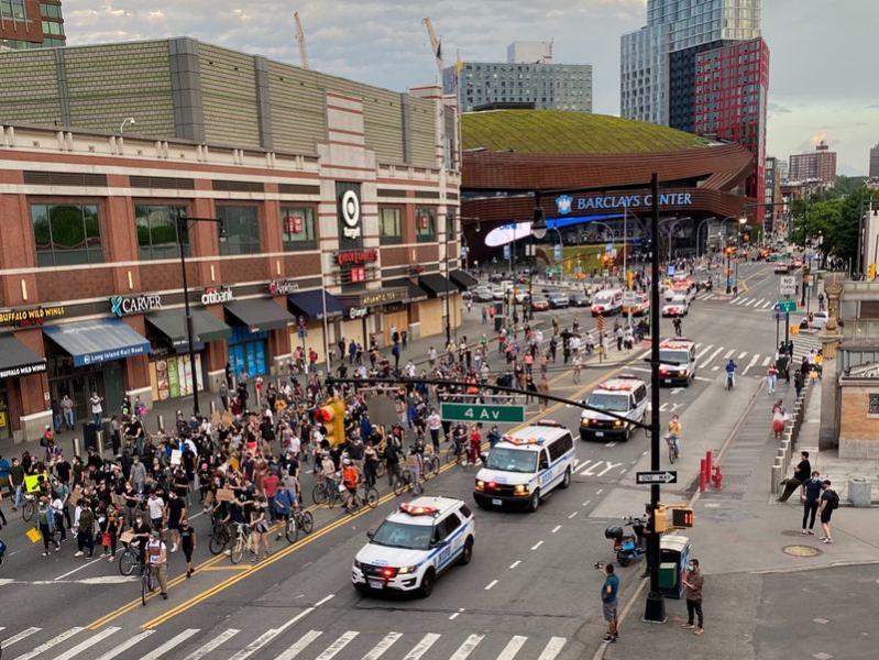 Protesters march down Flatbush Avenue in Brooklyn