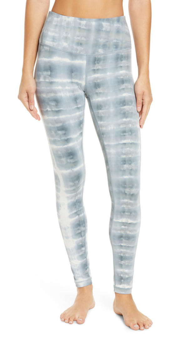 Zella Spray Dye High Waist Leggings in Blue Weather