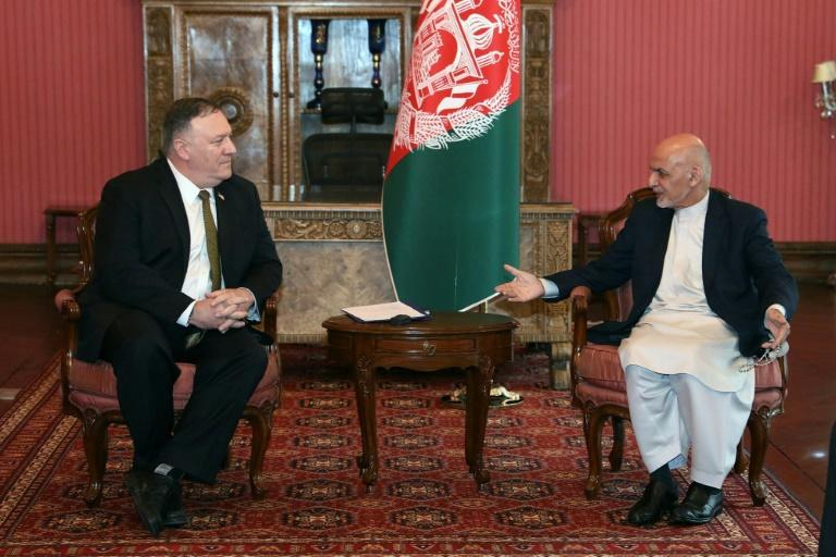 US Secretary of State Mike Pompeo (L) traveled to Kabul to meet with Afghanistan's President Ashraf Ghani amid an ongoing political crisis