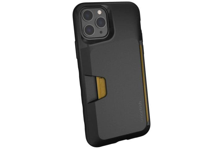 Photo shows the rear view of an iPhone 11 Pro in a black Wallet Slayer case from Smartish, with credit card slots
