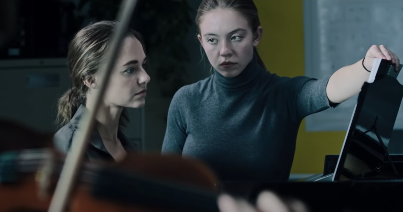 Madison Iseman and Sydney Sweeney in a still from Nocturne. (Amazon Prime Video/Blumhouse)