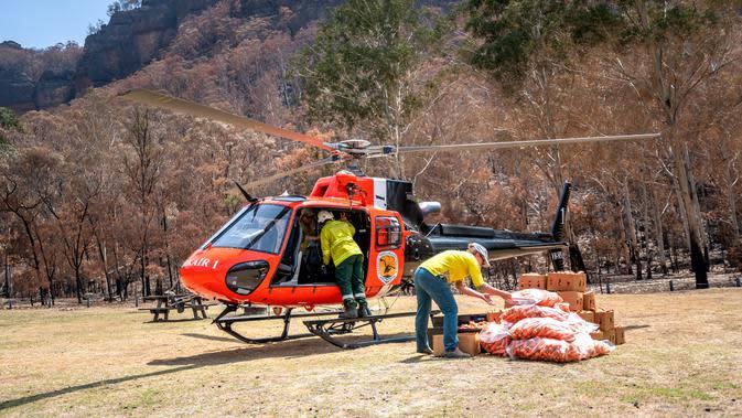 Petugas memuat wortel dan ubi jalar untuk walabi korban kebakaran hutan di sepanjang Pantai Selatan New South Wales pada 10 Januari 2020. Sekitar 1.000 kg ubi dan wortel ditumpahkan dari helikopter di berbagai wilayah dalam sepekan terakhir. (STR/NSW NATIONAL PARKS AND WILDLIFE SERVICES/AFP)