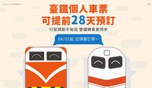 便利旅客規劃行程 臺鐵提早28天前開放預售