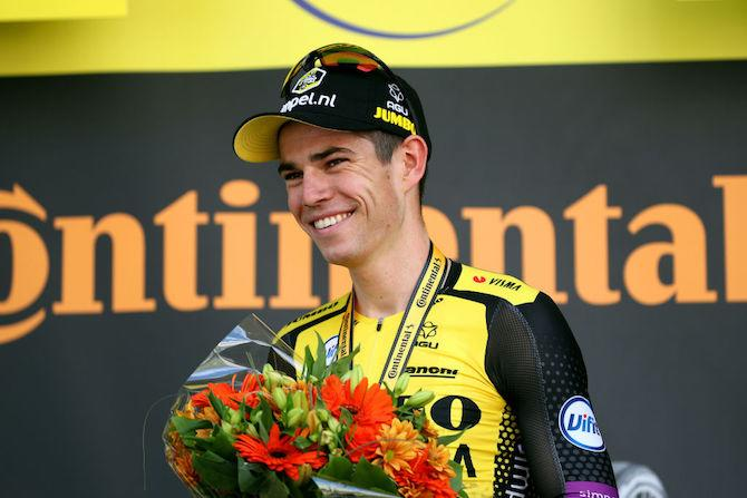 Jumbo-Visma's Wout van Aert is all smiles after having won stage 10 of the 2019 Tour de France