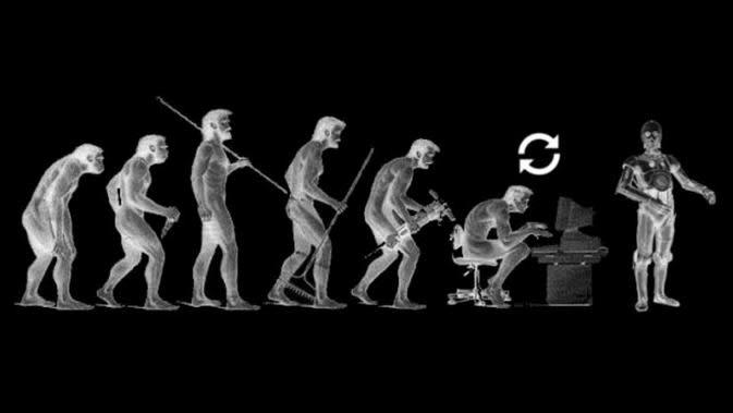 Ilustrasi evolusi mengarah kepada mesin kecerdasan buatan. (Sumber Wikimedia Commons/Fonytas)