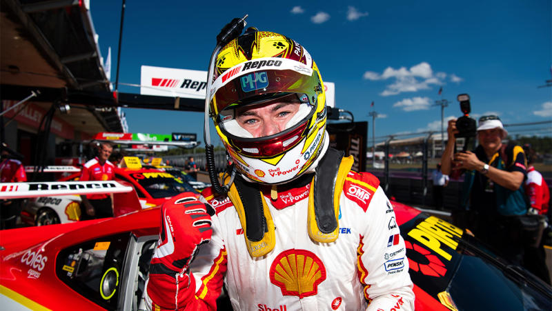 Scott McLaughlin driver of the #17 Shell V-Power Racing Team Ford Mustang celebrates after taking pole position for race 2 of the Darwin Triple Crown round of the Supercars Championship at Hidden Valley Raceway at Hidden Valley Raceway on June 16, 2019 in Darwin, Australia. (Photo by Daniel Kalisz/Getty Images)