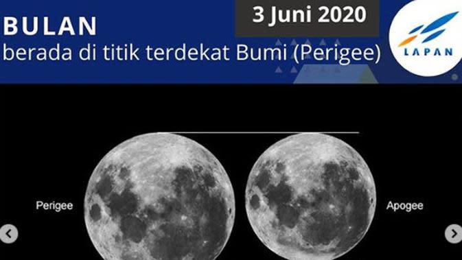 3 Juni: Bulan berada pada titik terdekat dengan Bumi (Perigee). (Instagram pussainsa_lapan/ABC.net.au)