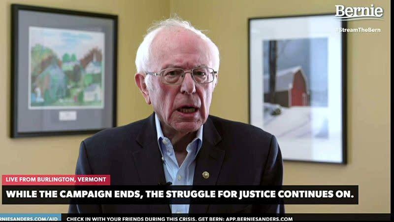 Democratic U.S. Presidential candidate Senator Bernie Sanders announces he is suspending his campaign for the Democratic presidential nomination in livestream from Burlington