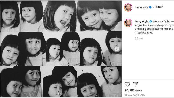 Hasyakyla Utami Sebut Adhisty Zara Adik yang Baik. (instagram.com/hasyakyla)
