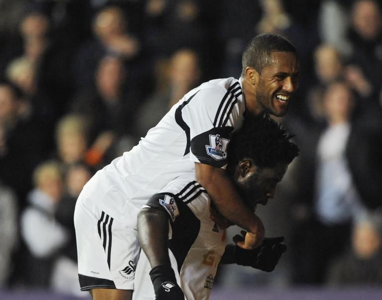 Swansea City's Wilfried Bony celebrates scoring against Stoke City during English Premier League in Wales