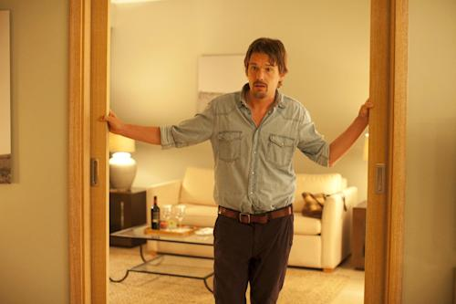 """This undated publicity photo released courtesy of Sony Pictures Classics shows Ethan Hawke as Jesse in the film, """"Before Midnight,"""" directed by Richard Linklater. (AP Photo/Sony Pictures Classics, Despina Spyrou)"""