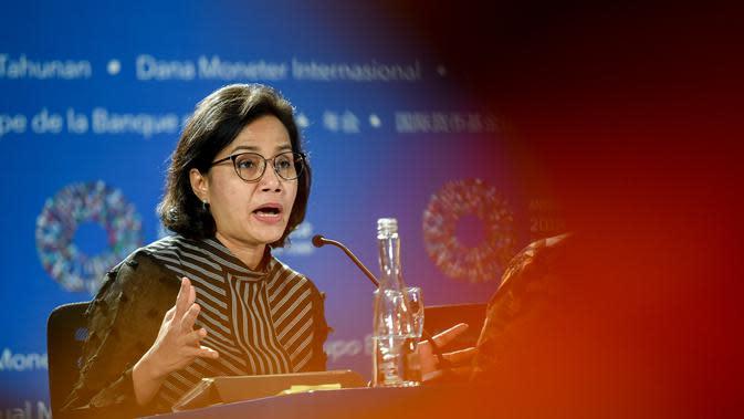 Sri Mulyani pada rangkaian Pertemuan Tahunan IMF-Bank Dunia 2018 di Bali. Dok: am2018bali.go.id