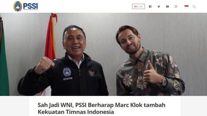 PSSI: Marc Klok Sudah Sah Jadi WNI