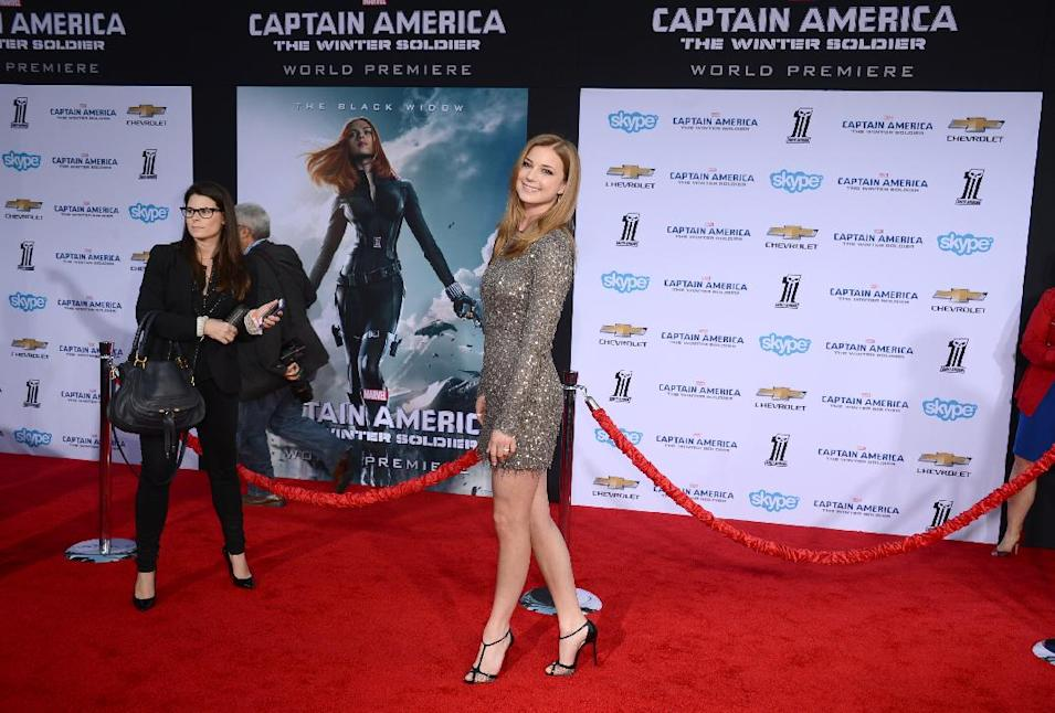 "Emily VanCamp arrives at the World Premiere of ""Captain America: The Winter Soldier,"" at the El Capitan Theatre on Thursday, March 13, 2014, in Los Angeles. (Photo by Jordan Strauss/Invision/AP)"
